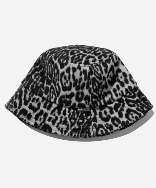 SP Leopard Fleece Bucket Hat-Gray