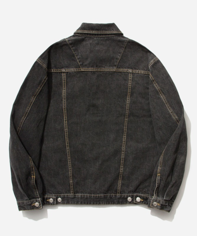 SP Denim Washed Trucker Jacket-Black