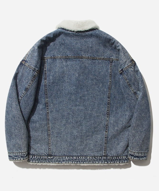 SP Boa Denim Trucker Jacket-Blue