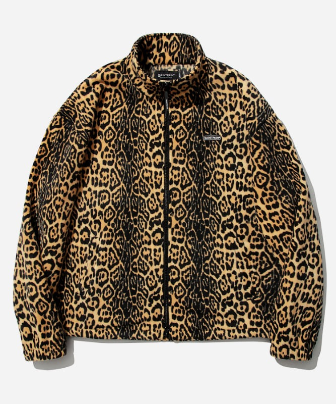SP Leopard Fleece Zip Up Jacket-Yellow