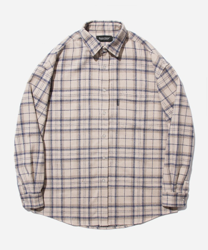 SP Loose Fit Muse Check Shirts-Beige