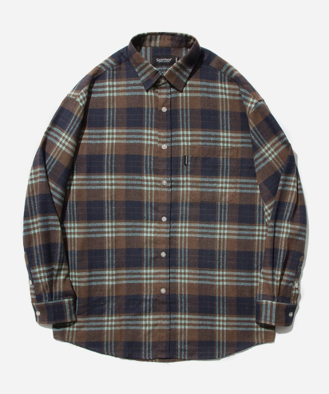 SP Loose Fit Panel Check Shirts-Mint Brown