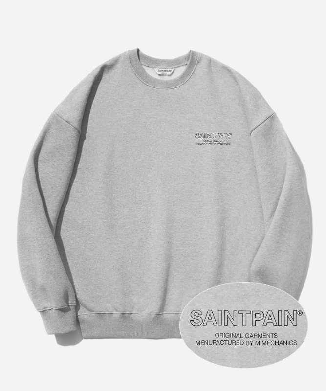 SP Out Line Logo Crew Neck-Gray
