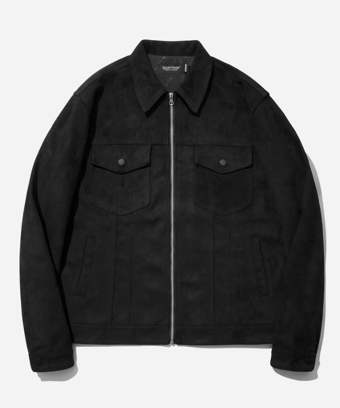 SP Suede Trucker Jacket-Black