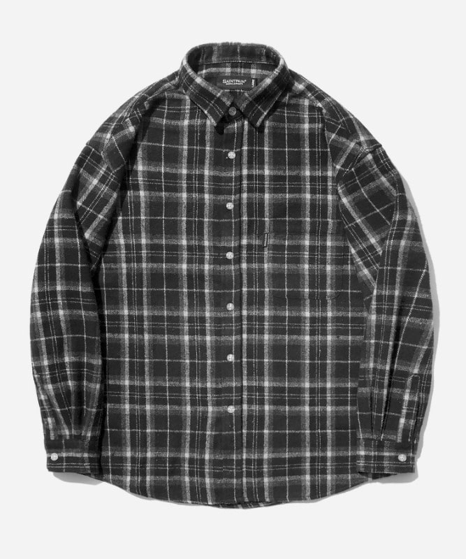 SP Loose Fit Muse Check Shirts-Black