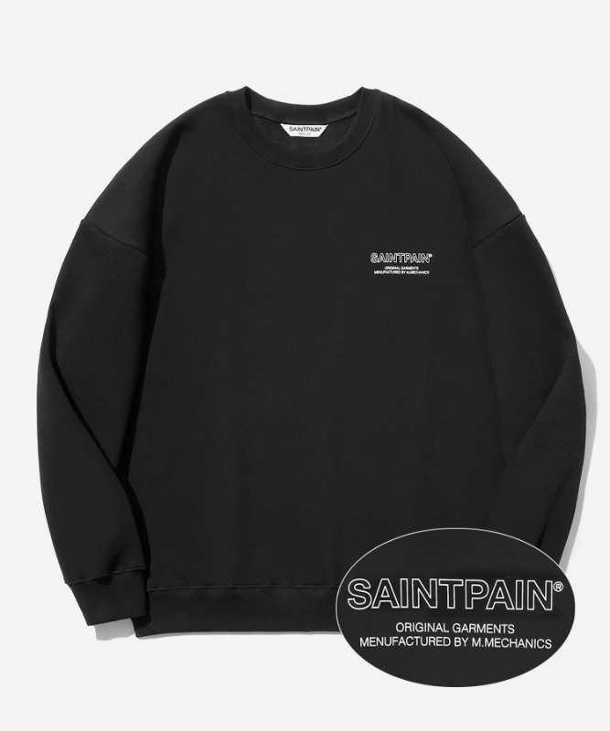 SP Out Line Logo Crew Neck-Black