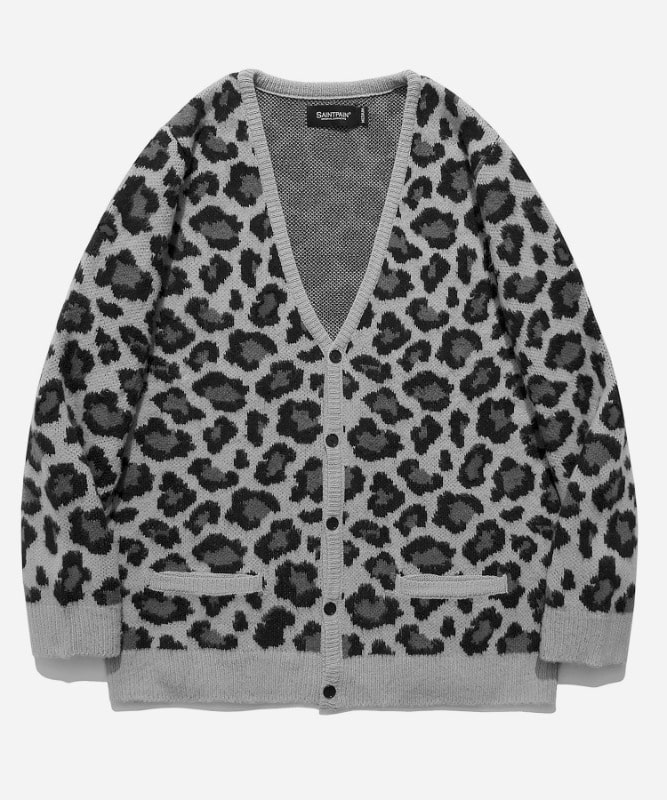 [11월 30일 예약발송]SP Semi Over Leopard Cardigan-Gray
