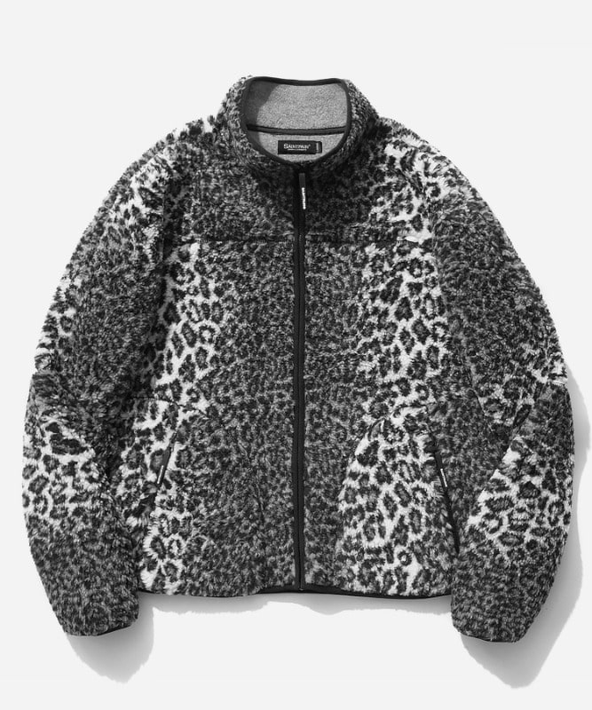 SP Leopard Boa Fleece Zip Up Jacket-Gray